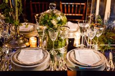 I love the tablescapes because they featured so many different centerpieces that each chair's view was different from its neighbors'.