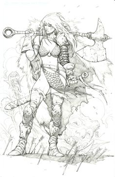 Red Sonja by Stephen PlattYou can find Red sonja and more on our website.Red Sonja by Stephen Platt Fantasy Character Design, Character Concept, Character Art, Adult Coloring Pages, Coloring Books, Drawing Sketches, Art Drawings, Bd Art, Tatoo Art