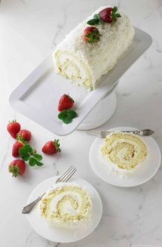 Have you ever tried to make roll cake by yourself yet? If you find roll cake recipes, you are on the right track. Here are 20 easy and delicious roll cake recipes that you will get hooked. These soft, sweet, and fluffy roll cakes that melts in the mo Coconut Desserts, Just Desserts, Coconut Cakes, Lemon Cakes, Cake Roll Recipes, Dessert Recipes, Swiss Roll Cakes, Jelly Roll Cakes, Jelly Rolls
