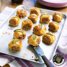 Cook a tray of these delightful sage sausage rolls to feed unexpected guests, or to serve as a delicious canapé with your Christmas Day fizz. Great to freeze. Antipasto, Christmas Canapes, Christmas Buffet, Wedding Canapes, Sage Sausage, Sausage Rolls, Mini Foods, Snacks, Appetisers