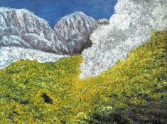 Sirný květ a fumaroly, Jigokudani (Tatejama), Honšú, Japonsko, SeniorTip, akvarel, pastel a tempera Jana Haasová Volcanoes, Tempera, Painters, Statue, Art, Art Background, Kunst, Volcano, Performing Arts