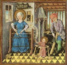 The Holy Family at Work. Mary is at the loom. Book of Hours of Catherine of Clèves, decorated by the Dutch artist, the Clèves Master, c. 1440.