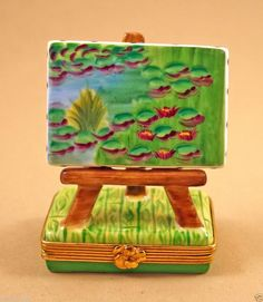 NEW FRENCH LIMOGES BOX ART EASEL W/ CLAUDE MONET WATERLILIES POND PAINTING iandrtravel  I&R Gifts International