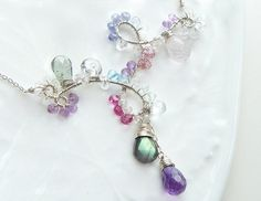 Multiple Gemstones Silver Necklace Wire Wrapped by Yukojewelry