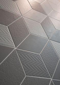 Rhombus In soft Light Grey only Master Bath Tile, Bath Tiles, Rhombus Tile, Johnson Tiles, Timeless Bathroom, Backsplash For White Cabinets, House Tiles, Tiles Texture, Grand Homes