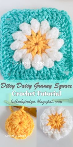 Crochet Daisy Granny Square Tutorial Learn how to make this perfectly pretty da. Crochet Daisy Granny Square Tutorial Learn how to make this perfectly pretty daisy granny square i Granny Square Crochet Pattern, Crochet Afghans, Crochet Squares, Crochet Blanket Patterns, Crochet Motif, Crochet Stitches, Knitting Patterns, Crochet Granny, Knitting Ideas