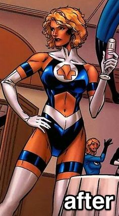 Poor Sue. What did they do to your original costume? Although I don't hate this one as much as I do other female costumes (Starfire...)