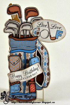 """Very cool Shaped Card by Karon (using a Silouette machine) and the new """"Golf Set"""" at Imagine That.... digis by Kris"""