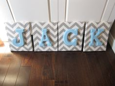 Wall Canvas Letters Nursery Decor Nursery Letters by NurseryShoppe (Etsy)--navy blue chevron with pink letters!