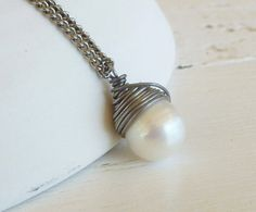 Pearl Necklace, Nickel Free Niobium Wire Wrapped Ivory Freshwater Pearl on a Titanium Necklace Wedding Bride Nickel Free Bridal Fashion