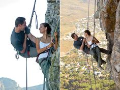 This brave couple did a rock climbing-themed engagement shoot