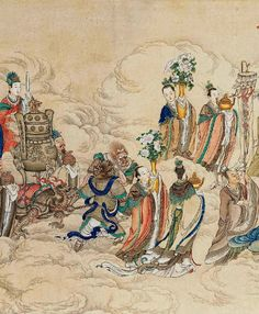Daoist immortals walking on the clouds in the sky -- ancient Chinese colour ink painting
