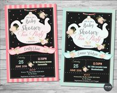 Beautiful Baby Shower Tea Party Personalised Invitations from Lollipop Party Supplies. http://www.lollipoppartysupplies.com.au