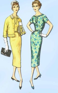 "Simplicity Pattern 2372 Misses' Dress Pattern Slenderette Design with Matching Jacket Dated 1957 Factory Folded and Unused Nice Condition Overall Size 14 (34"" Bust)"
