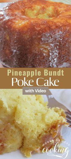 Pineapple Bundt Poke Cake is a simple, delicious, and moist poke cake. #pineapple #bundtcake #cake #pokecake #dessert #recipe Potluck Desserts, Easy Desserts, Delicious Desserts, Dessert Recipes, Homemade Desserts, Party Recipes, Cupcake Recipes, Pie Recipes, Dessert Ideas