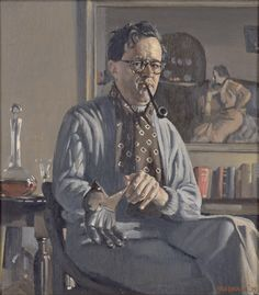 Self portrait with glove 1939 , oil on canvas by Herbert Badham (1899- 1961) Collection: National Portrait Gallery, Canberra