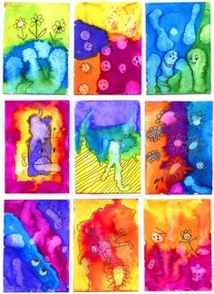 watercolor paintings = fun shapes to draw around. Art Projects for Kidson watercolor paintings = fun shapes to draw around. Art Projects for Kids Projects For Kids, Art Projects, Crafts For Kids, Craft Kids, Project Ideas, Kindergarten Art, Preschool Art, Classe D'art, Art Trading Cards