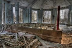 Damaged boxing ring at the Soviet Palace of Culture - Chernobyl