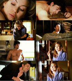 Meredith: Look, I'm gonna go upstairs and take a shower. Okay? And when I get back here, you won't be here so, um… good-bye, um…  Derek: Derek.  Meredith: Derek. Right, Meredith.  Derek: Meredith?  Meredith: Yeah.  Derek: Nice meeting you.  Meredith: Bye Derek.
