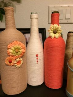 Coral and tan wine bottles