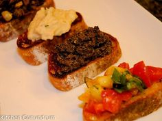 Black Olive Tapenade, Black Olive-Lemon Tapenade, Bruschetta with Tomatoes and Basil, Bruschetta with Porcini Mushrooms and Bruschetta with White Beans Recipes for Easy Summer Eating