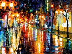 "Night Perspective — PALETTE KNIFE Modern Landscape City Fine Art Oil Painting On Canvas By Leonid Afremov - Size: 40"" x 30"" (100 cm x 75 cm)"