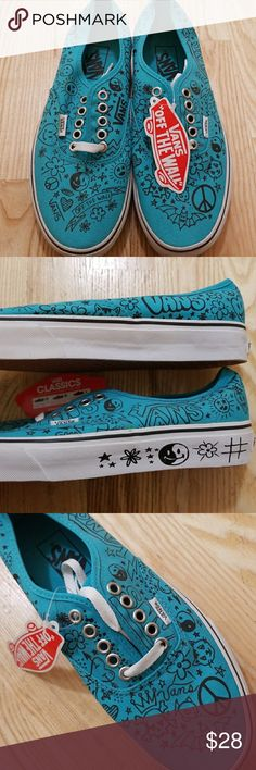 NWT Rare Vans Turquoise Doodle Emoji Sneakers Brand new never worn pair of Vans sneakers. These are aqua/turquoise with rare Vans classic black drawings and smiley faces. White laces. Super cute and perfect for spring and a great addition to a Vans collector! Vans Shoes Sneakers