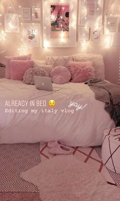 00 Pink Bedroom with Star Lights – Rosa Schlafzimmer mit Sternenlichtern – Cute Bedroom Ideas, Cute Room Decor, Girl Bedroom Designs, Teen Room Decor, Room Ideas Bedroom, Diy Bedroom, Master Bedroom, Bed Room, Bedroom Themes