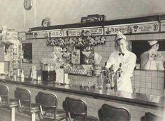 "A soda jerk (or jerker) was typically a youth who operated the soda fountain in a drugstore. They prepared ice cream soda. The name ""soda je. Vintage Diner, 50s Diner, Vintage Trains, Vintage Restaurant, Vintage Food, Vintage Stuff, Restaurant Design, Cream Soda, Corner Cafe"