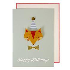 Fox Badge Birthday Card