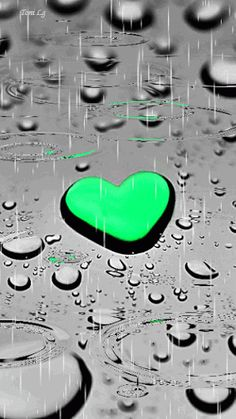 Coração verde na chuva ♡ Green heart in the rain Água Color Splash, Color Pop, I Love Heart, My Heart, My Love, Happy Heart, Coeur Gif, Corazones Gif, Rain Drops