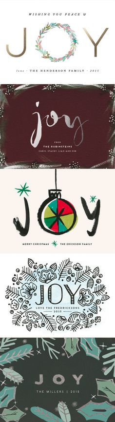 Shop Minted's selection of 'Joy' Holiday greeting cards at Minted.com