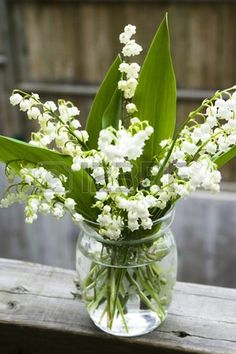 bouquet of lily of the valley in glass vase at the wood handrail Stock Photo