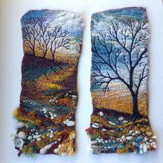 Debbie Colby 's Forest theme of Felt Embroideries Textile Fiber Art, Textile Artists, Felt Fabric, Fabric Art, Wet Felting, Needle Felting, Felt Wall Hanging, Landscape Art Quilts, Felt Pictures