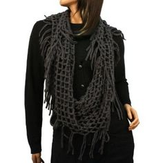 Winter Knit Fishnet Net Loop Circle Eternity Infinity Scarf Chain Charcoal SK Hat shop. $18.95