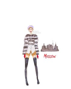 Fashion Illustration Print Moscow City by AlisonBillustrations