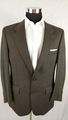 033705885de Vintage Burberrys Wool Sport Coat 2B Suit Jacket Blazer Herringbone Brown  Sz 40R  fashion