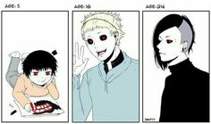 Uta, text, ghoul, age 5, age 16, age 24, young, childhood, different ages, time lapse, timeline, cool, funny, cute; Tokyo Ghoul