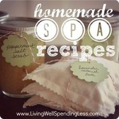 4 great homemade spa recipes made from common household ingredients.  Makes a great gift idea!  Includes a salt scrub, oatmeal bath sachets, bubble bath, & a honey-yogurt face mask.