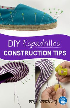 "Dritz Espadrilles: <a class=""pintag"" href=""/explore/Sewing/"" title=""#Sewing explore Pinterest"">#Sewing</a> Construction Tips. Great hints & help for making <a class=""pintag"" href=""/explore/DIY/"" title=""#DIY explore Pinterest"">#DIY</a> espadrilles."