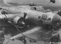 """stukablr: """"B-17G Lucky Patch of the 527th Bomb Squadron, 379th Bomb Group, 8th Air Force crash lands with wheels up """""""