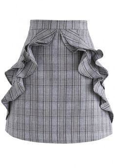 Modish Expression Frilling Check Bud Skirt - New Arrivals - Retro, Indie and Unique Fashion