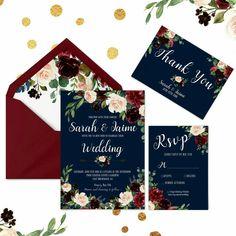 Burgundy and Navy wedding invitations - Navy wedding invites - Wedding Invitation Template - Floral Wedding Set - Printable Wedding invites #burgundyandnavy #weddinginvites #navyweddinginvitation #burgundyweddinginvitation http://etsy.me/2nACEmm