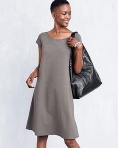 Eileen Fisher Organic-Cotton Ballet-Neck Dress - Regular