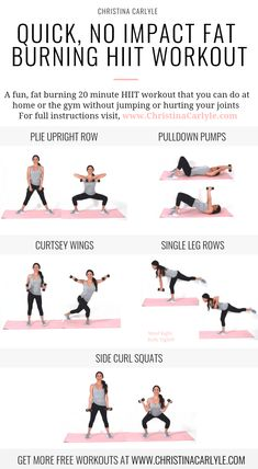 Low Impact HIIT Workout for women to burn fat and tone up fast christinacarlyle…. Source by GetFitChristina The post Low Impact HIIT Workout to Burn Fat without Hurting your Knee appeared first on Griffith Diet and Fitness. Fitness Workouts, Fitness Motivation, Training Fitness, Yoga Fitness, Health Fitness, Hiit Workouts Weights, Quick Workouts, Weights Workout For Women, Interval Training Workouts