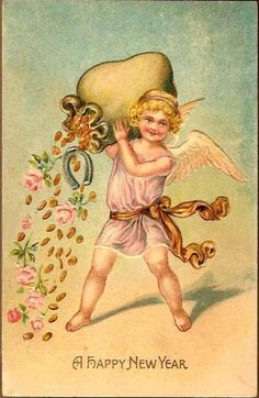 Vintage Post Card New Year Greetings Cherub with Coins and Roses from dsmomentsintime on Ruby Lane