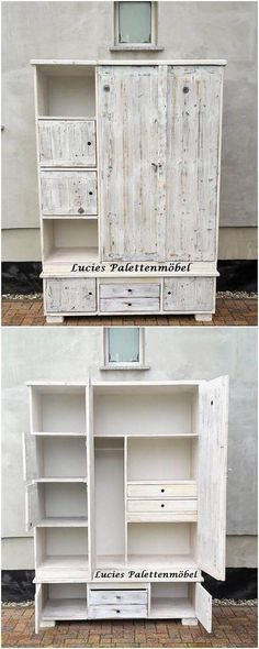 Simple yet elegant perfection in designing flavors, this wood pallet cupboard design has been all bring about with the mind-blowing structure artwork pieces. It is carried out with the shelving unit over the top and the downside area of the cupboard offers the cabinet and drawers.