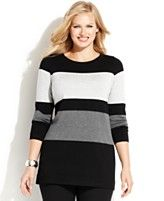 INC International Concepts Plus Size Striped Colorblocked Tunic Sweater