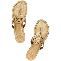 f0f28a17e407c Pre-owned Tory Burch Miller Metallic Size 7 Gold Sandals ( 160) ❤ liked