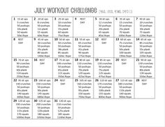 """July All Around Workout Challenge i""""m gonna try this july starts tomorrow."""